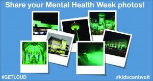 Images of landmarks illuminated green for Mental Health Week